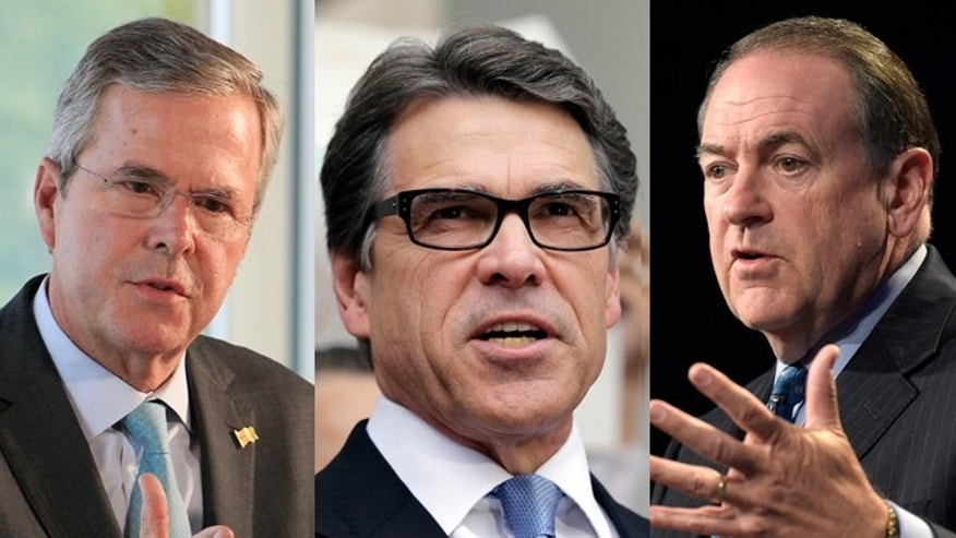 Former Governors Jeb Bush, Rick Perry, Mike Huckabee (FNC/Associated Press)