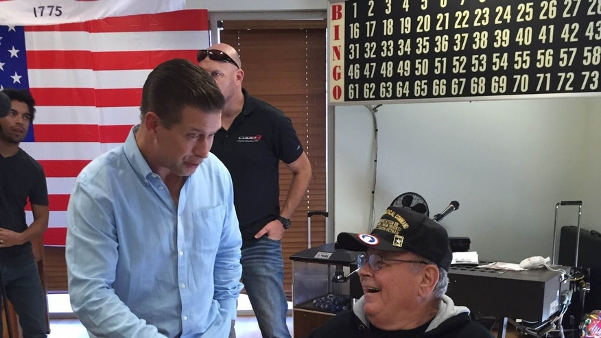 Stephen Baldwin shakes the hand of Vietnam veteran, Ronald Sumner in Fresno, Calif. at the local VA hospital. (Courtesy of the author)