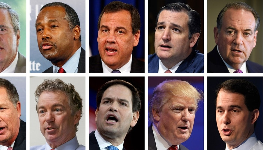 Republican presidential candidates Jeb Bush, Ben Carson, Chris Christie, Ted Cruz, Mike Huckabee and from bottom left, John Kasich, Rand Paul, Marco Rubio, Donald Trump and Scott Walker. (AP Photos/File)