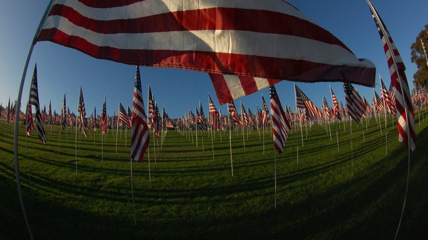 FILE -- 9/11 Memorial at Pepperdine University. Each flag represents a person who lost their life on September 11, 2001.