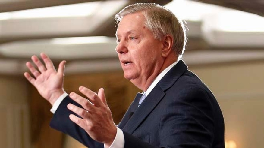 April 18, 2015:  Sen. Lindsey Graham, R-S.C., speaks in Nashua, N.H.