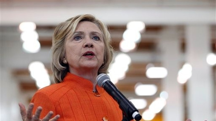 Democratic presidential candidate Hillary Rodham Clinton speaks while touring the Carpenters International Training Center Tuesday, Aug. 18, 2015, in Las Vegas. The training center was on of several places Clinton visited in the Las Vegas area on Tuesday. (AP Photo/John Locher)
