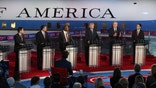 SIMI VALLEY, CA-SEPTEMBER. 16:  Republican presidential candidates Marco Rubio, U.S. Sen. Ted Cruz (R-TX), Ben Carson, Donald Trump, Jeb Bush and Wisconsin Gov. Scott Walker  take part in the presidential debates at the Reagan Library on September 16, 2015 in Simi Valley, California. Fifteen Republican presidential candidates are participating in the second set of Republican presidential debates.  (Photo by Justin Sullivan/Getty Images)