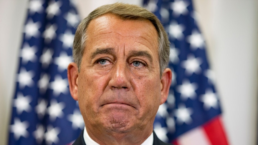 FILE -- Sept. 9, 2015: Speaker of the House John Boehner of Ohio, pauses while speaking about his opposition to the Iran deal during a news conference with members of the House Republican leadership on Capitol Hill in Washington. (AP Photo/Jacquelyn Martin)