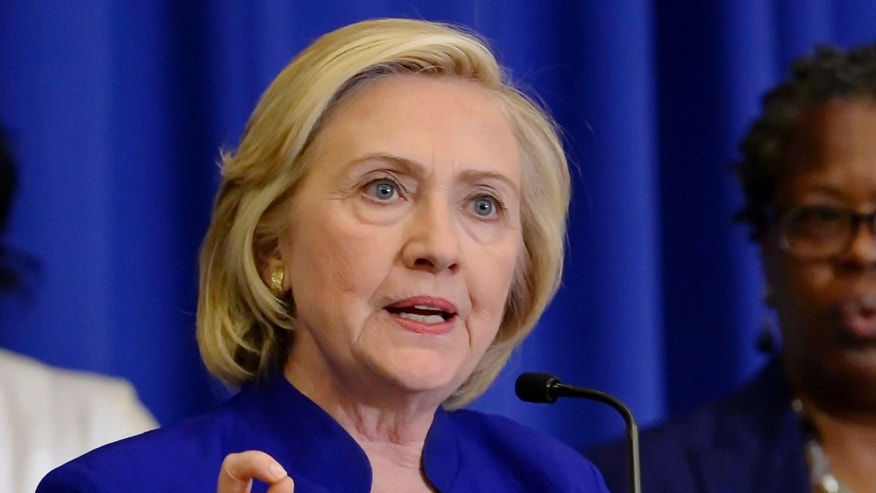 FILE - In this May 27, 2015 file photo, Democratic presidential candidate, former Secretary of State Hillary Rodham Clinton speaks in Columbia, S.C. Clinton plans to deliver the first major speech of her Democratic presidential primary campaign in New York City next week in a new phase of her campaign adding some fanfare and policy specifics to a White House bid marked by small events in parts of the country since its launch.  (AP Photo/Richard Shiro, File)