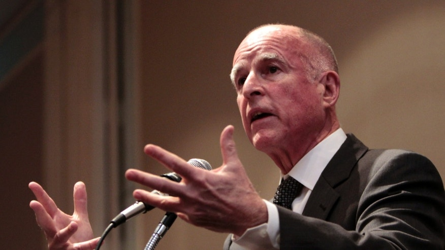 "Jan. 19, 2011 - Gov. Jerry Brown (D-FL) at a conference in Sacramento, CA. Brown has recently signed a measure that requires pregnancy crisis centers to ""offer information about contraception and abortion."""