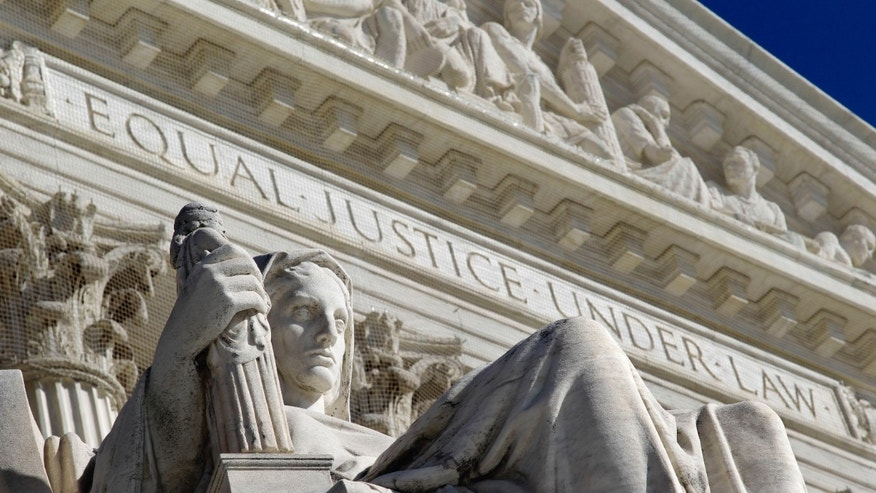FILE -- March 7, 2011: A detail of the West Facade of the U.S. Supreme Court is seen in Washington.