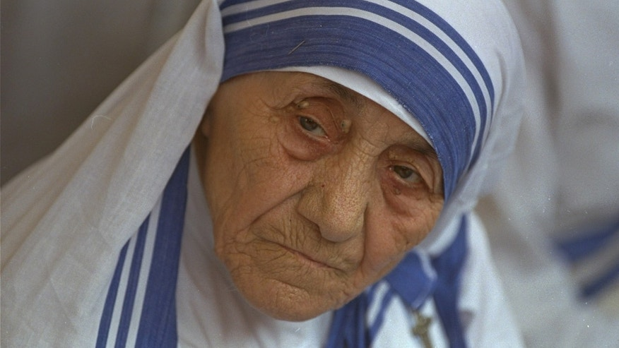 FILE - In this Aug. 25, 1993 file photo Mother Teresa, head of Missionaries of Charity, is photographed, in New Delhi, India.