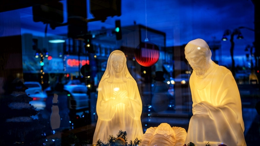 A nativity scene is displayed in Wadena, Minn., Thursday, Dec. 10, 2015. (Glen Stubbe/Star Tribune via AP) MANDATORY CREDIT