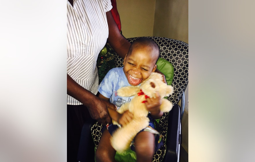 Haitian boy receives teddy bear