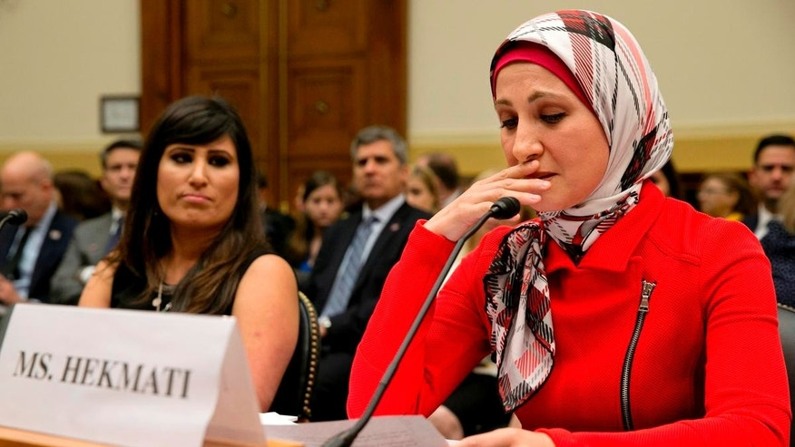 FILE -- June 2, 2015: Sarah Hekmati, right, whose brother Amir Hekmati has been detained in Iran, speaks at a House Foreign Affairs Committee hearing. Sarah Hekmati was Michigan Congressman Dan Kildee's guest for this year's State of the Union Address.