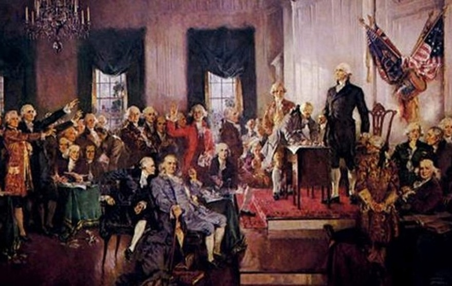 Scene at the Signing of the United States Constitution,' a 1940 painting by Howard Chandler Christy