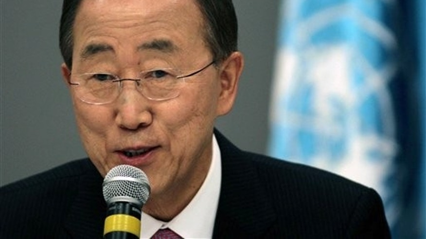 FILE -- Secretary General Ban Ki-moon, speaks at a press conference in Brazil.