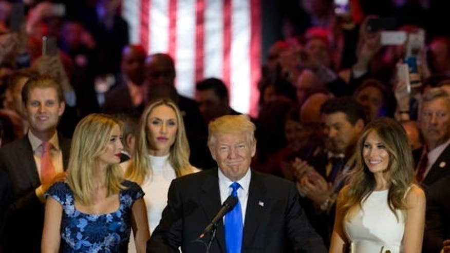 Republican presidential candidate Donald Trump smiles as he speaks during a primary night news conference on May 3, 2016, in New York. (AP Photo/Mary Altaffer)