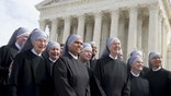 Loraine Marie Maguire (3rd R), mother provincial of the Little Sisters of the Poor, stands alongside fellow nuns following oral arguments in 7 cases dealing with religious organizations that want to ban contraceptives from their health insurance policies on religious grounds at the Supreme Court in Washington, DC, March 23, 2016. / AFP / SAUL LOEB        (Photo credit should read SAUL LOEB/AFP/Getty Images)