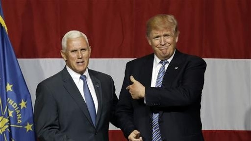 FILE -- Indiana Governor Mike Pence and Donald Trump