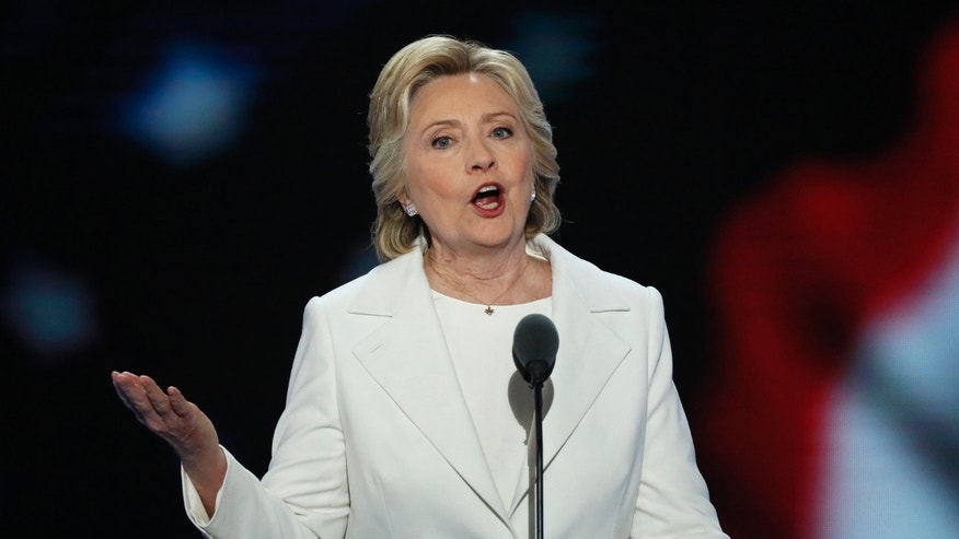 FILE -- July 28, 2016: Democratic U.S. presidential nominee Hillary Clinton accepts the nomination on the fourth and final night at the Democratic National Convention in Philadelphia, Pennsylvania.