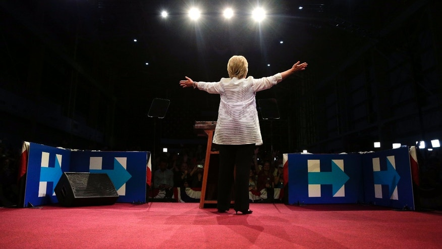 Presidential candidate Hillary Clinton during a primary election rally, on June 7, 2016, in New York.