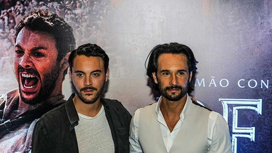 "August 2, 2016: Rodrigo Santoro (R) and Jack Huston during the lauch of the movie ""Ben-Hur"" in Sao Paulo, Brazil."