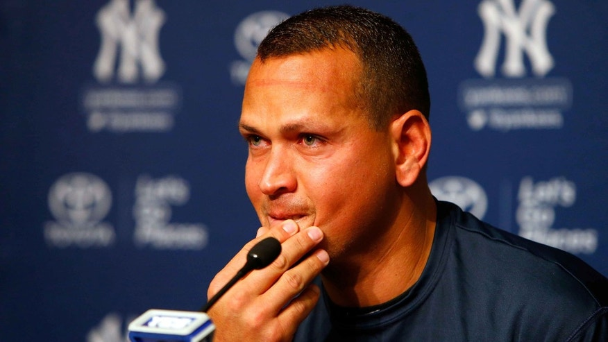 Alex Rodriguez during a news conference on August 7, 2016 at Yankee Stadium in New York City.