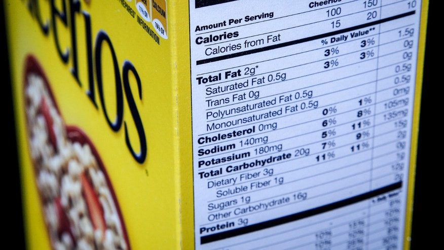 The nutrition facts label seen on the side of a cereal box.