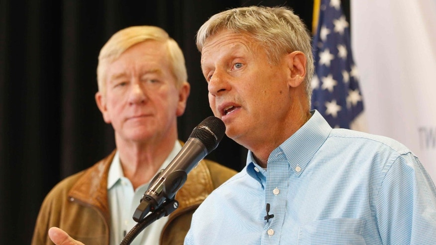 Libertarian presidential candidate Gary Johnson (R) and running mate Bill Weld on August 6, 2015 i n Salt Lake City, Utah.