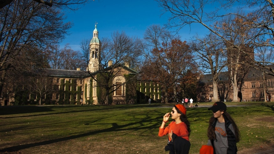 Students walk around the Princeton University campus in New Jersey.