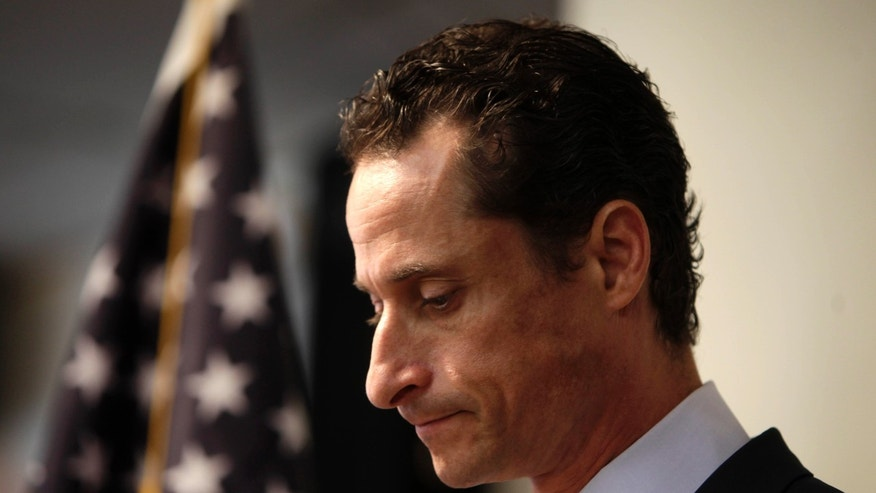 FILE-Anthony Weiner announces his resignation from Congress during a news conference in Brooklyn, New York, Thursday, June 16, 2011.
