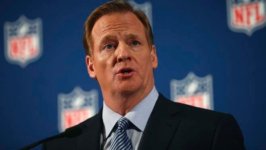 FILE -- Sept. 19, 2014: National Football League (NFL) Commissioner Roger Goodell speaks at a news conference in New York.