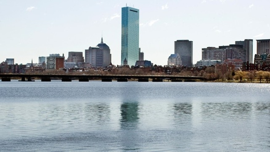 Boston skyline from The Charles River.
