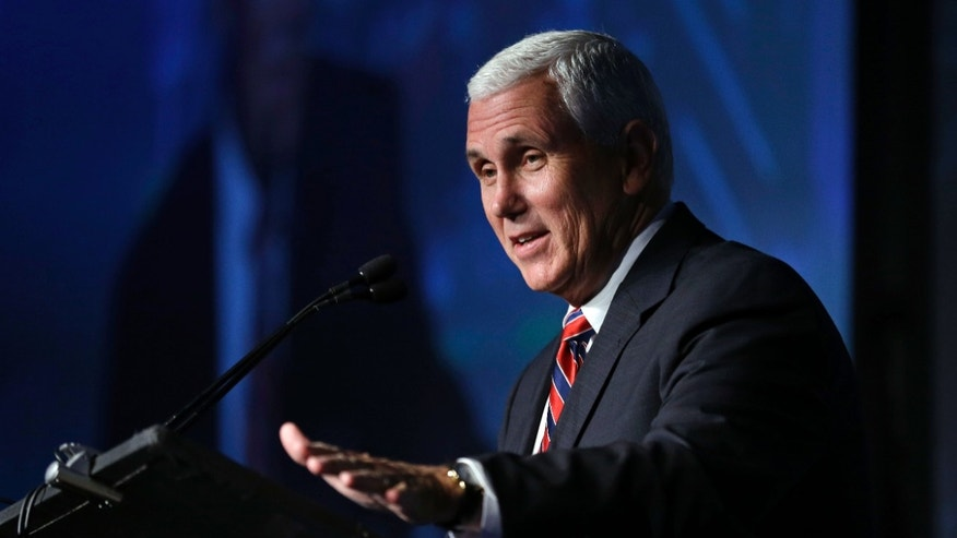 FILE - Republican vice presidential candidate, Indiana Gov. Mike Pence speaks at the American Legislative Exchange Council annual meeting in Indianapolis, Friday, July 29, 2016.