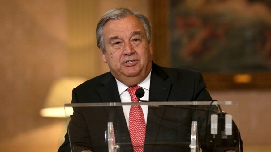The newly appointed Secretary General of the United Nations, Antonio Guterres, reads a statement at Lisbon's Necessidades palace after the formal election took place this morning at the organisation's headquarters, Thursday, Oct. 6, 2016.