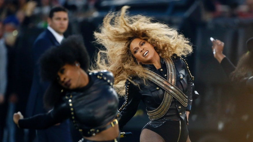FILE - Feb. 7, 2016: Beyonce performs during halftime of the NFL Super Bowl 50 football game in Santa Clara, Calif.