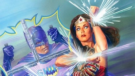 """This image provided by DC Entertainment shows Batman and Wonder Woman. The colorful 1960s version of the Caped Crusader will team up with the groovy 1970s rendition of Wonder Woman in a new comic book series. DC Comics announced Friday, Oct. 7, 2016,  at New York Comic Con that """"'Batman '66 Meets Wonder Woman '77"""" will unite the characters from the """"Batman"""" TV show staring Adam West and Burt Ward with the """"Wonder Woman"""" TV series featuring Lynda Carter. (DC Entertainment via AP)"""