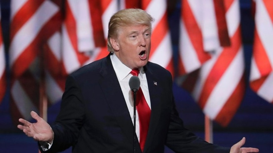 FILE - Republican Presidential Candidate Donald J. Trump speaks during the final day of the Republican National Convention in Cleveland, Thursday, July 21, 2016.