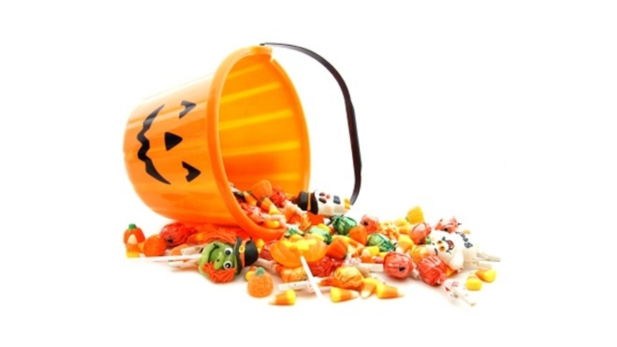 A bucket of Halloween candy.