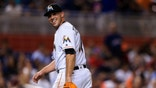 MIAMI, FL - AUGUST 24: Jose Fernandez #16 of the Miami Marlins walks of the field during the third inning of the game against the Kansas City Royals at Marlins Park on August 24, 2016 in Miami, Florida. (Photo by Rob Foldy/Getty Images)
