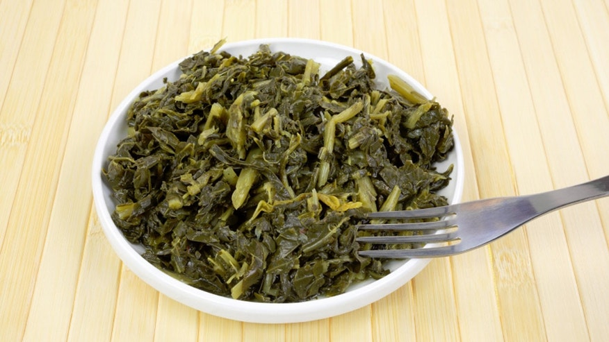 FILE - Collard greens