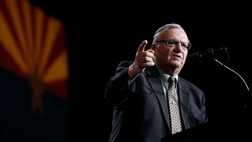 PHOENIX, AZ - AUGUST 31:  Maricopa County Sheriff Joe Arpaio speaks in support of Republican presidential candidate Donald Trump during a Trump campaign rally on August 31, 2016 in Phoenix, Arizona.  (Photo by Ralph Freso/Getty Images)