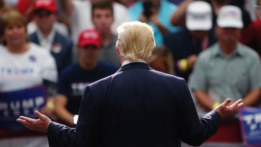 FILE - Republican presidential candidate Donald Trump speaks at a campaign rally in Akron, Ohio, Monday, Aug. 22, 2016.