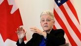 U.S. Environmental Protection Agency (EPA) Administrator Gina McCarthy speaks during a town hall meeting at the University of Ottawa on Thursday, April 7, 2016, in Ottawa. (Justin Tang /The Canadian Press via AP) MANDATORY CREDIT