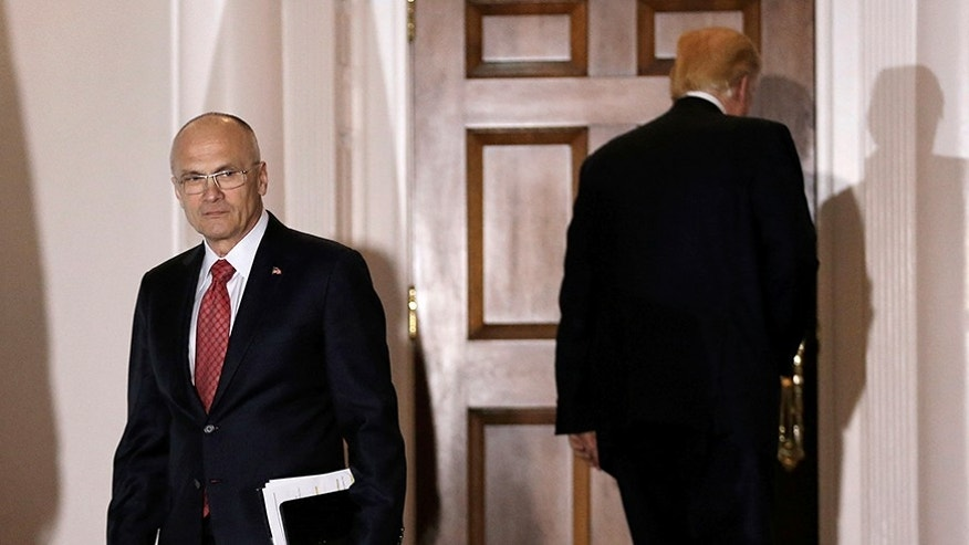 Andy Puzder departs after meeting with U.S. President-elect Donald Trump at the main clubhouse at Trump National Golf Club in Bedminster, New Jersey, U.S., November 19, 2016.