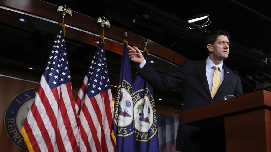 FILE -- House Speaker Paul Ryan of Wis. speaks during a news conference on Capitol Hill in Washington.