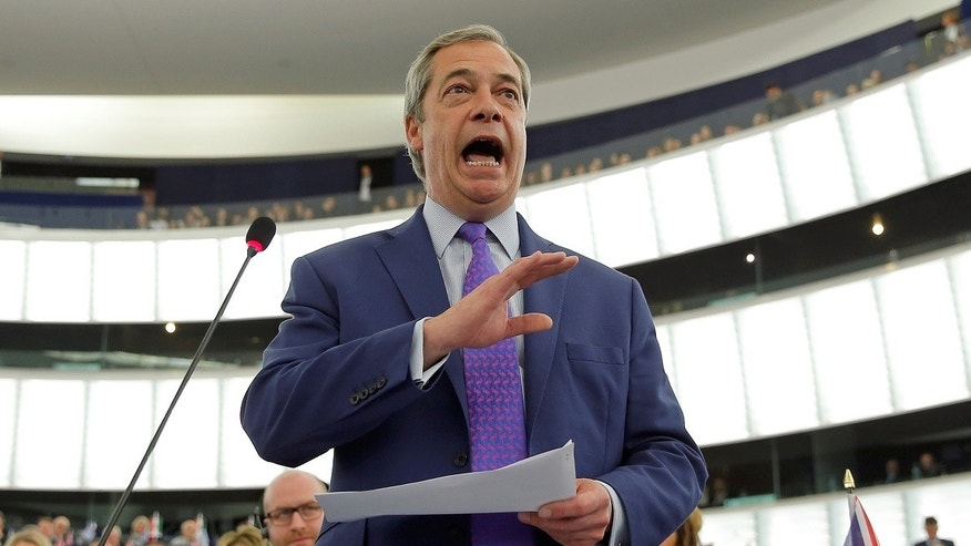 igel Farage, United Kingdom Independence Party (UKIP) member and MEP, addresses the European Parliament during a debate on Brexit priorities and the upcoming talks on the UK's withdrawal from the EU, in Strasbourg, France, April 5, 2017.