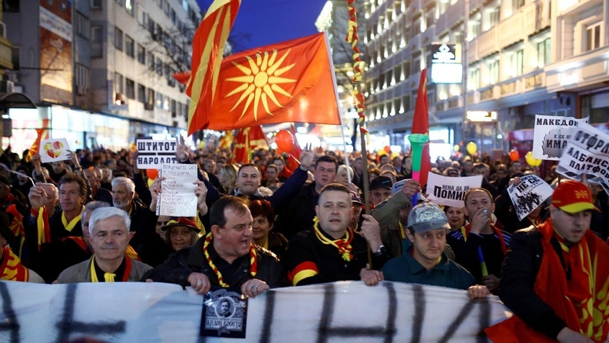 Protesters demonstrate against an agreement that would ensure the wider official use of the Albanian language, in Skopje, Macedonia March 9, 2017. REUTERS/Ognen Teofilovski - RTS126M6
