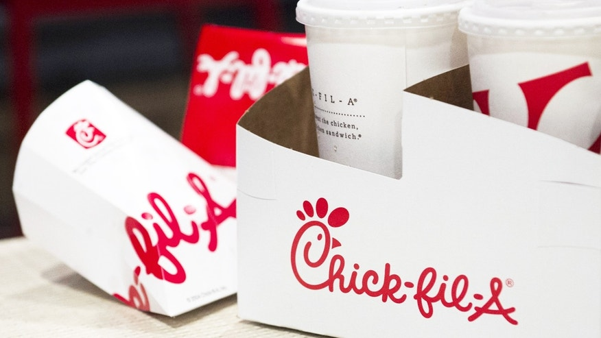 FILE -- Drink and sandwich containers are seen on a customer's table during the grand opening of a Chick-fil-A freestanding franchise restaurant in Midtown, New York.