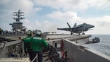 A U.S. Navy F/A-18E Super Hornet launches from the flight deck of the aircraft carrier USS Dwight D. Eisenhower (CVN 69) in the Mediterranean Sea June 28, 2016.  U.S. Navy/Mass Communication Specialist 3rd Class Anderson W. Branch/Handout via Reuters  THIS IMAGE HAS BEEN SUPPLIED BY A THIRD PARTY. IT IS DISTRIBUTED, EXACTLY AS RECEIVED BY REUTERS, AS A SERVICE TO CLIENTS. FOR EDITORIAL USE ONLY. NOT FOR SALE FOR MARKETING OR ADVERTISING CAMPAIGNS - RTX2IPFS