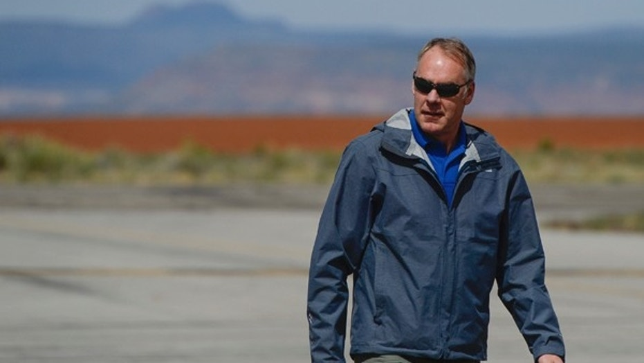 Interior Secretary Ryan Zinke arrives at the Blanding airport on Monday, May 8, 2017, for an aerial tour of the recently designated Bears End National Monument in southeastern Utah.