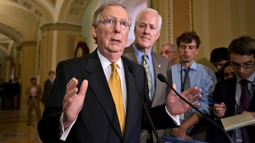 FILE -- Senate Majority Leader Mitch McConnell of Ky., left, stands next to by Senate Majority Whip John Cornyn of Texas.