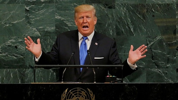 U.S. President Donald Trump addresses the 72nd United Nations General Assembly at U.N. headquarters in New York, U.S., September 19, 2017. REUTERS/Lucas Jackson - RC1FE6B17270